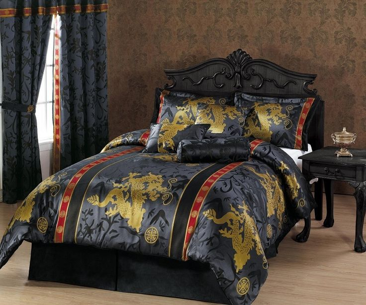 7pcs Black Gold Red Palace Dragon Jacquard Comforter Set
