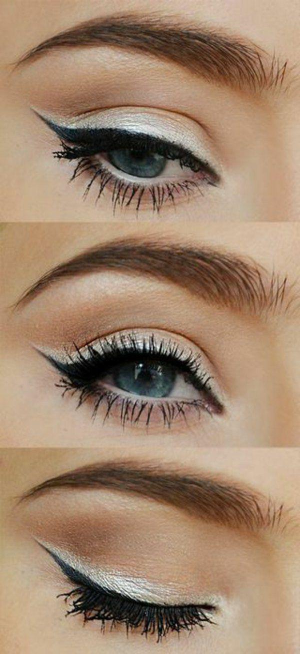 augen make up tipps schwarzer eyer liner silberne lidschatten