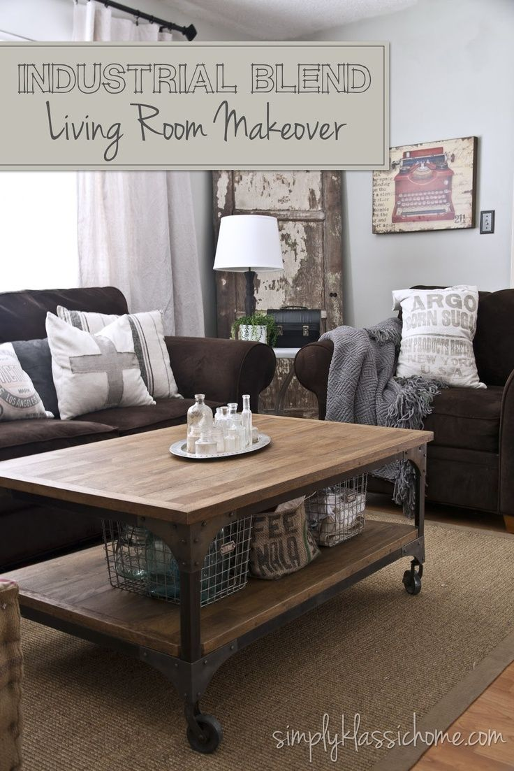 Industrial blend living room makeover reveal dark couchdark brown