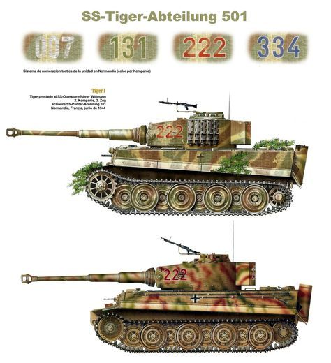 Tiger I «numero tactico 222», 2. Kompanie, 2. Zug, SS-Tiger Abteilung 501 (SS-sPzAbt. 501), Tiger prestado a Wittmann y usado para exploración el 13 de junio de 1944.