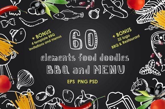60 Elements food doodles BBQ & MENU by JuliyArt on @creativemarket