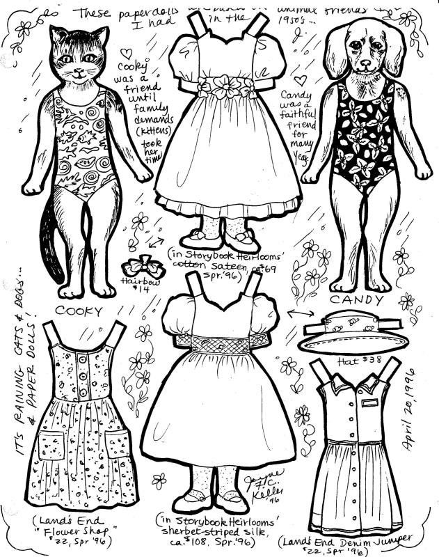 Girl Dog And Cat Paper Doll Coloring Page