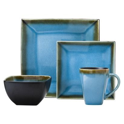 "Blue Noodle Bowl  6"" diameter, 4"" deep  Threshold™ 16 Piece Stoneware Dinnerware Set - Reactive Blue"