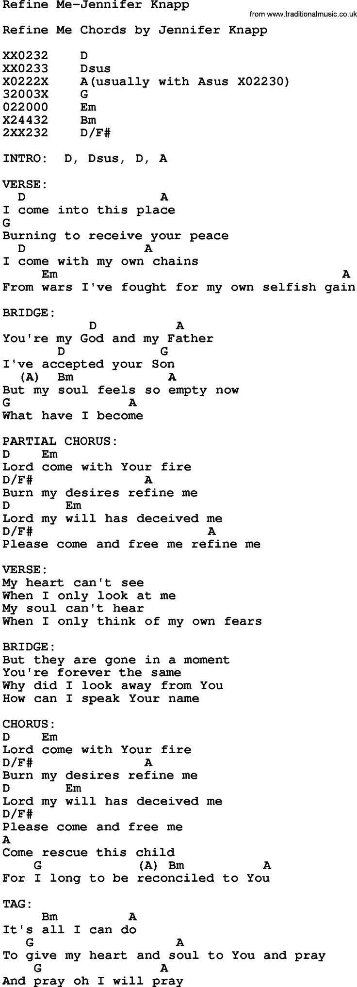 The 25 best gospel song lyrics ideas on pinterest gospel lyrics gospel song refine me jennifer knapp lyrics and chords hexwebz Images