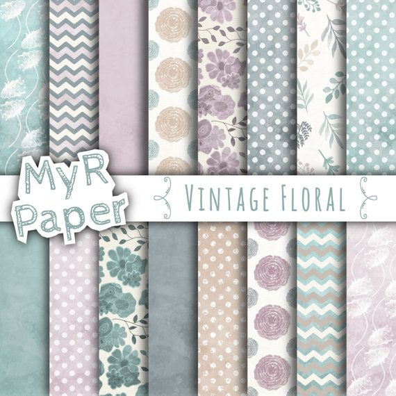 """With #love by @myrpaper in @etsy #pattern #design #graphic #paperdesign #papercraft #scrapbooking #digitalpaper Floral Digital Paper: """"Vintage Floral"""" Digital Paper Pack & Backgrounds; Vintage Effect in Lilac, Teal, Grey, Beige and White  HELLO AND WELCOME TO MY SHOP  These digital p..."""