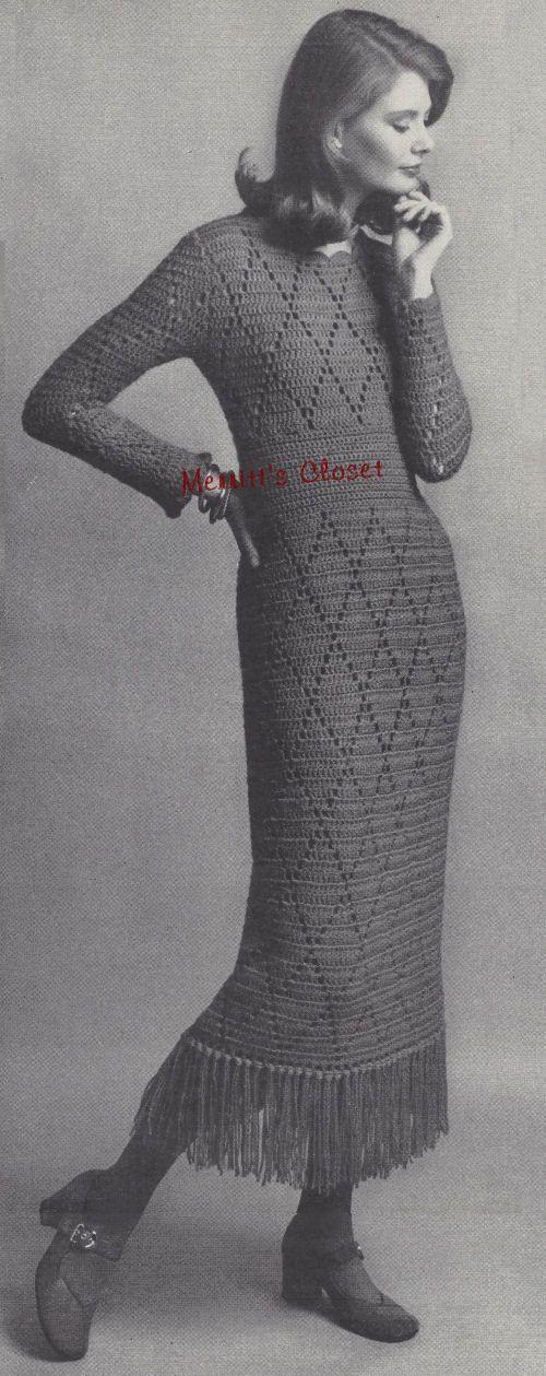 Vintage Crochet Pattern. Fiesta Dress Crochet Pattern. Great party dress with fringe.