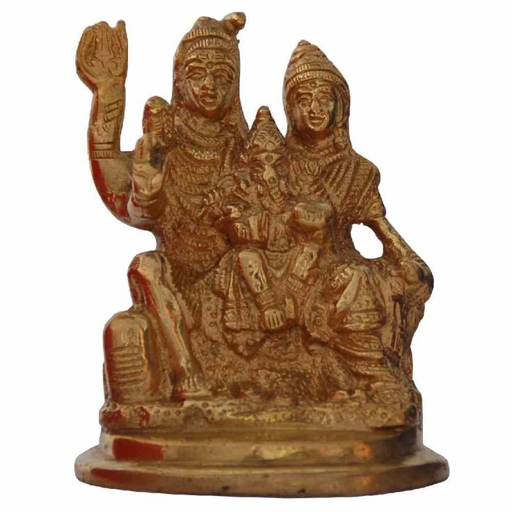 Brass Shiva Family Idol Medium