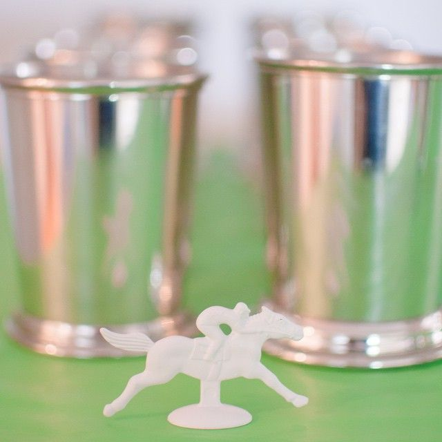More #derbyday details! Maybe the most important detail : the mint julep cups #mintjulep #mintjuleps #chismderbyday #derbyday2015 #kentuckyderby #kentuckyderby2015
