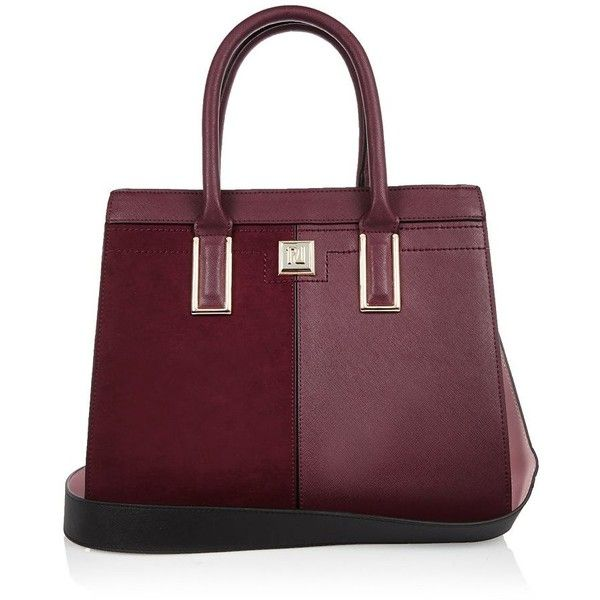 River Island Dark red boxy panel tote handbag (£52) ❤ liked on Polyvore featuring bags, handbags, tote bags, red, top handle handbags, tote purses, river island, red tote handbags and purple tote