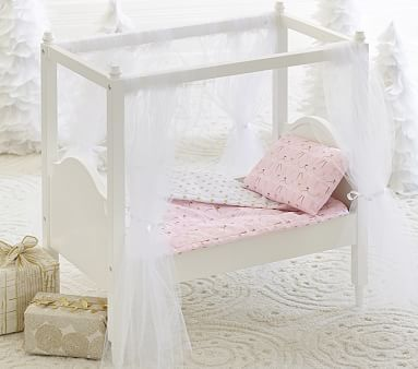 Doll Canopy Bed & Bedding #pbkids
