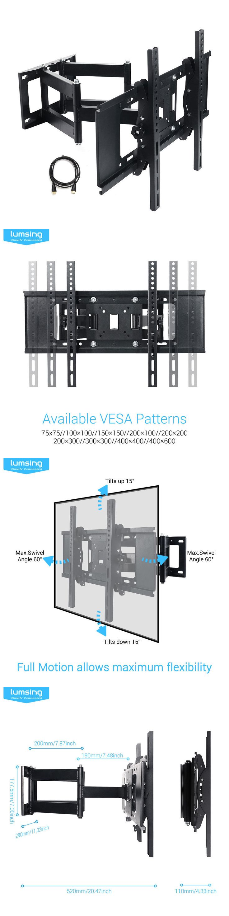 TV Mounts and Brackets: Full Motion Tv Wall Mount 32 37 40 42 50 55 60 65 70 For Samsung Vizio Lg Sony -> BUY IT NOW ONLY: $36.99 on eBay!