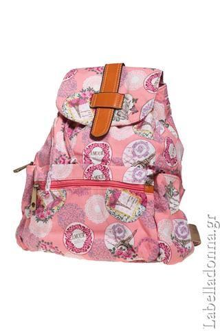 Labelladonna.gr - Backbag vintage floral υφασμάτινη τσάντα-ροζ