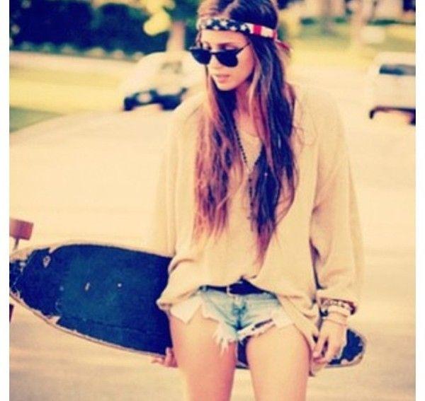 skate - girl - summer - hippie - fashion