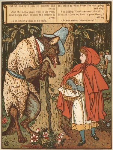 Walter Crane. (1845-1915) Little Red Riding Hood.
