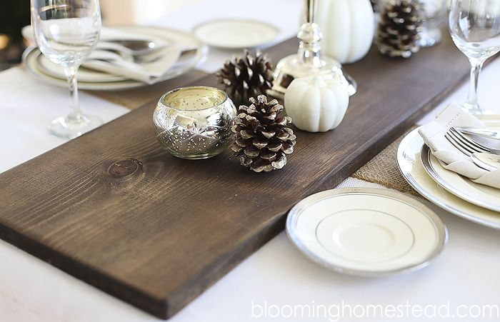 DIY Rustic Wood Table runner by Blooming Homestead | tablescape | fall decor | table runner |diy | wedding | thanksgiving centerpiece |rustic table runner