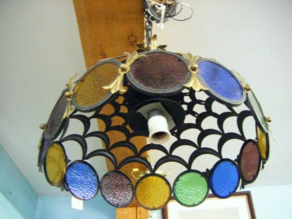Vintage Mid Century Eames Era Stained Glass Chandelier Hanging Lamp Lighting