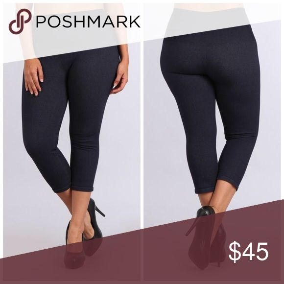 M. Rena plus tummy tuck denim Capri leggings Amazing tummy tuck denim Capri legging from M. Rena. Made in USA. GUARANTEED no see-through material. You will not want to take these off! m. rena Pants Leggings
