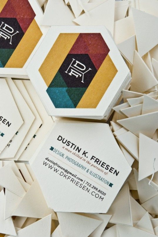 Lovely design for these hexagon business cards