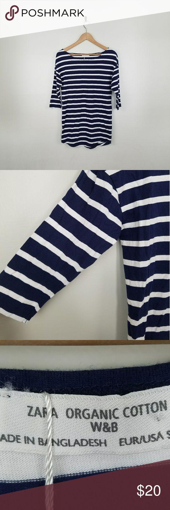 Zara Organic Cotton Blue & White Striped Shirt S Zara women's blue and white striped half sleeve shirt size small armpit to armpit measures 20 in armpit to hem measures 20 in  new with tags Zara Tops Blouses
