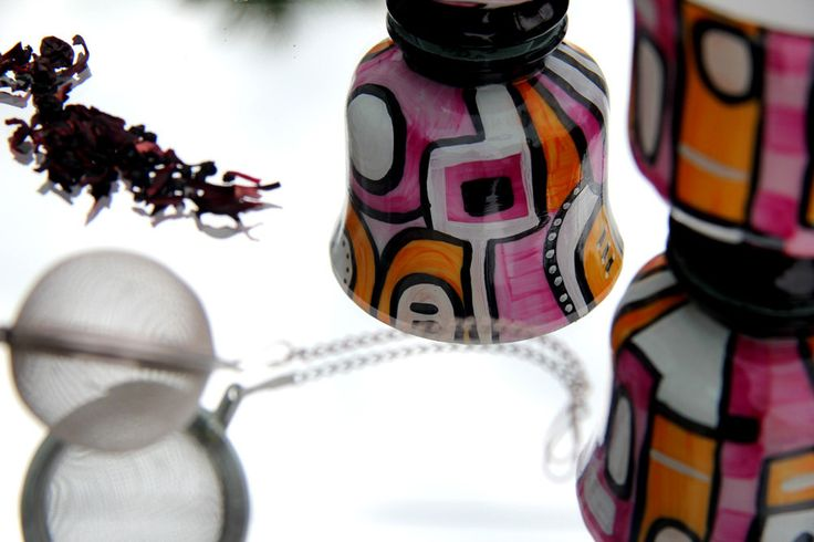 set di 2 tazze in ceramica dipinta a mano di IdeeRandagie su Etsy