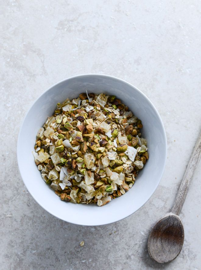 muesli : toasted pistachio and pineapple---could use more or less of anything (less fruit to cut sugar or less nuts to cut fat) also can mix up everything and add different nuts or dried fruits...kind of interested to try he whole pineapple coconut thing tho! sounds like vacation in a breakfast! ;b