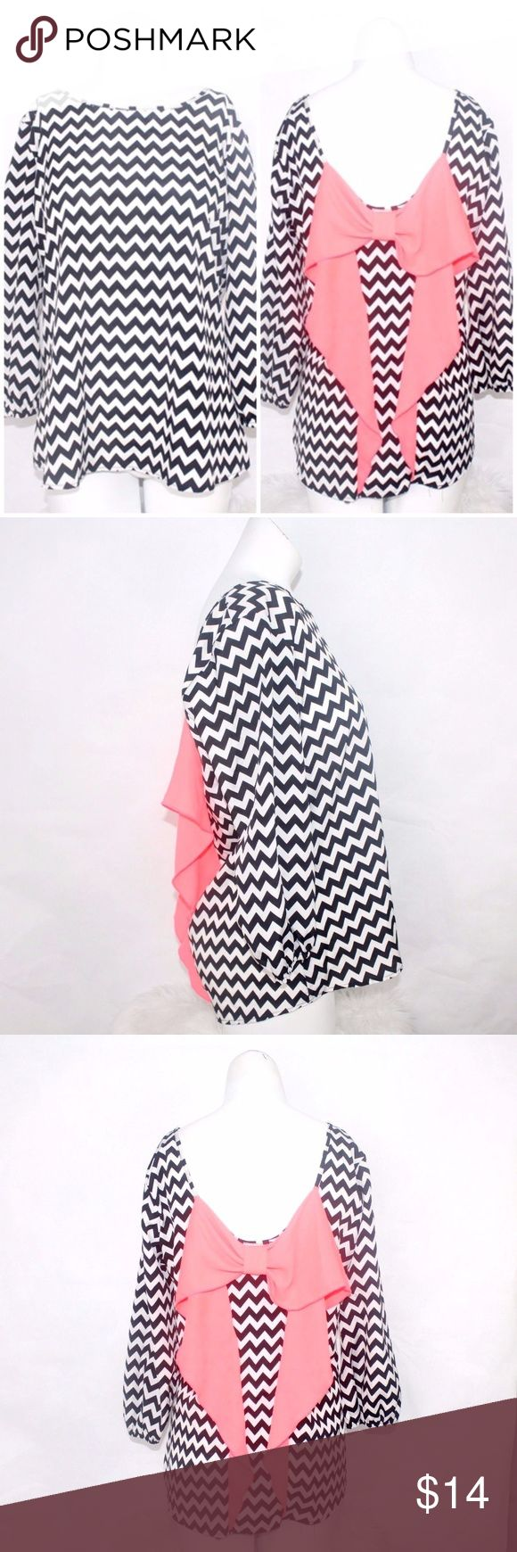 MOA MOA Womens Black White Neon Pink Chevron Blous MOA MOA Womens Black White Neon Pink Chevron Blouse Bow Back Sz M C4 Cute Sexy  100% Polyester Bust 19 Inches Length 24 Inches Moa Moa Tops Blouses