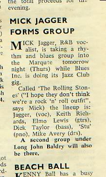 Mick Jagger forms group (1962 newspaper clipping)