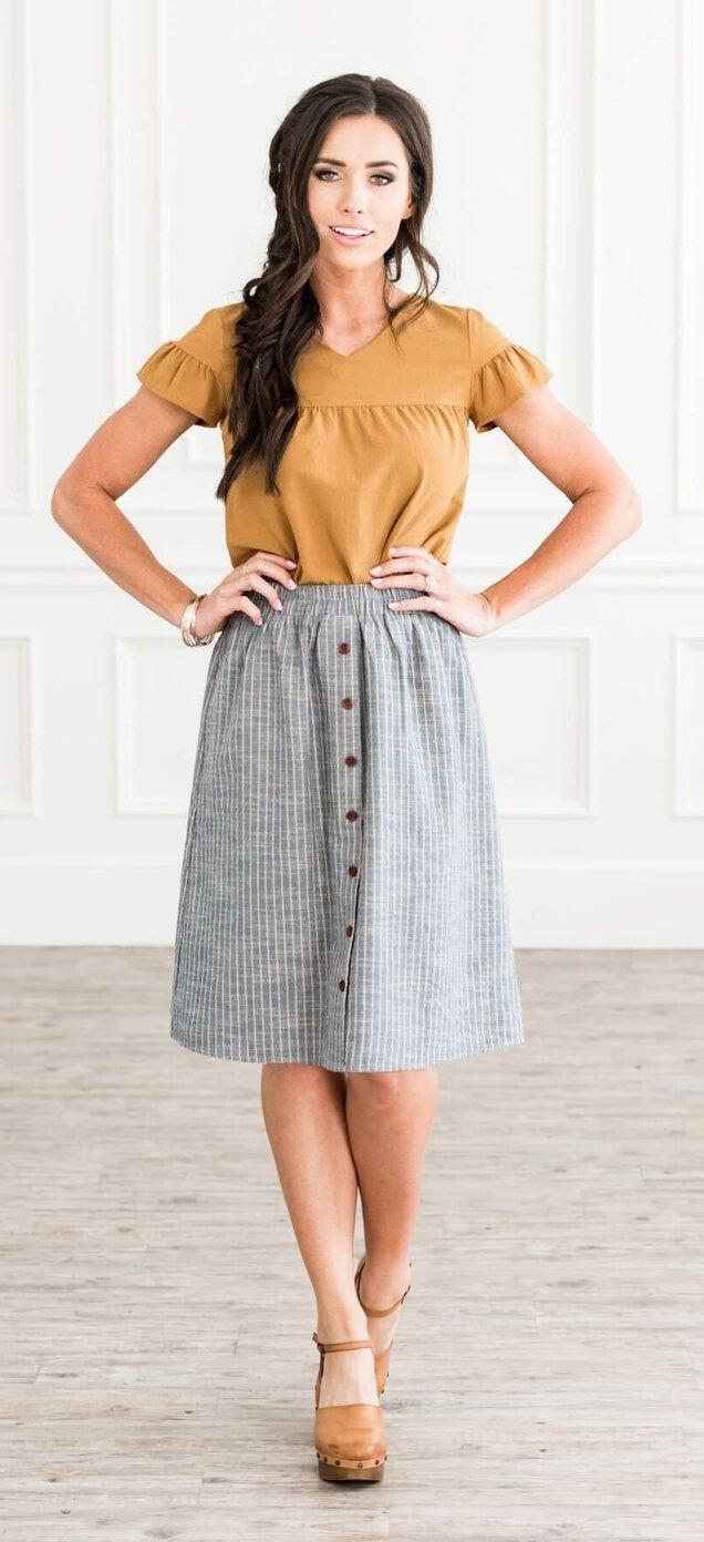 Full Button Skirt (Light Denim Tan Stripe)