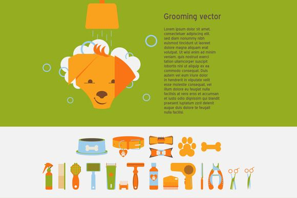 Pet grooming vector set by Creativemaker on Creative Market