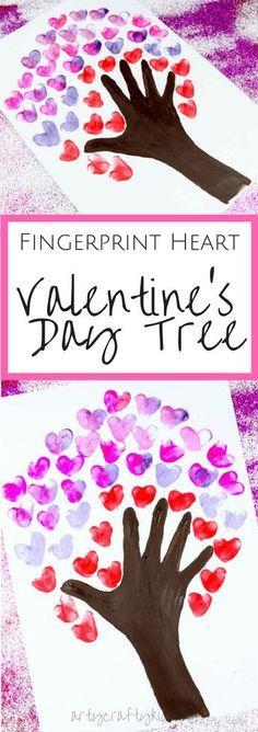 Arty Crafty Kids | Valentinstag Basteln für Kinder | Fingerabdruck Herz Valentinstag