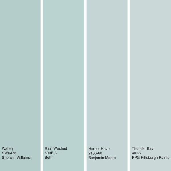 Watery blue hues. These soft, muted greenish-blue hues work especially well for bedrooms and bathrooms, where they offer a calming, spa-inspired vibe. These soft blues with green and gray undertones can be used in large quantities in a room without being overwhelming. From left to right: Watery from Sherwin-Williams, Rain Washed from Behr, Harbor Haze from Benjamin Moore and Thunder Bay from PPG Pittsburgh Paints. by tracey