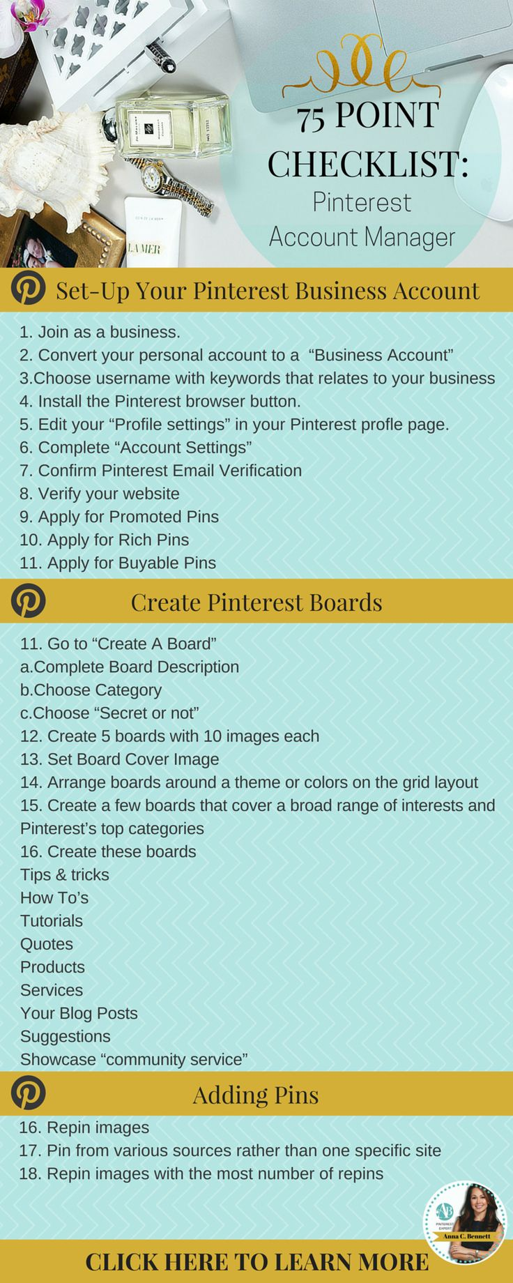 Regardless of whether you manage your Pinterest account in-house or outsource the management to an expert you have to decide ahead of time what you're willing to invest and what you expect in return. Learn how to choose the right Pinterest account manager for your business http://www.whiteglovesocialmedia.com/social-media-marketing-for-your-business-75-point-checklist/