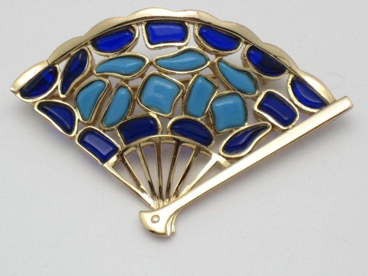 TRIFARI Vintage 1966 Modern Mosaic Shades of Blue Glass Fan Brooch Pin