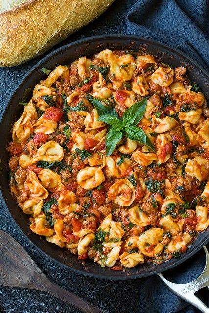 One Pan Turkey Sausage, Spinach and Marinara Tortellini