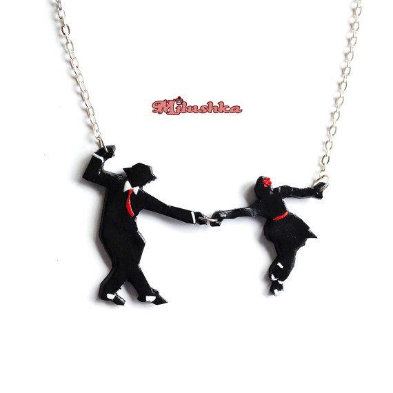 Lindy Hop Swing Jazz Dancers Short Necklace Retro by Milushka