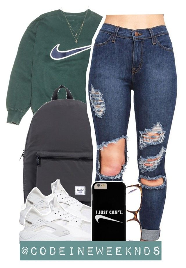"""12/30/15"" by codeineweeknds ❤ liked on Polyvore featuring NIKE, Herschel Supply Co., Victoria Beckham and Forever 21"