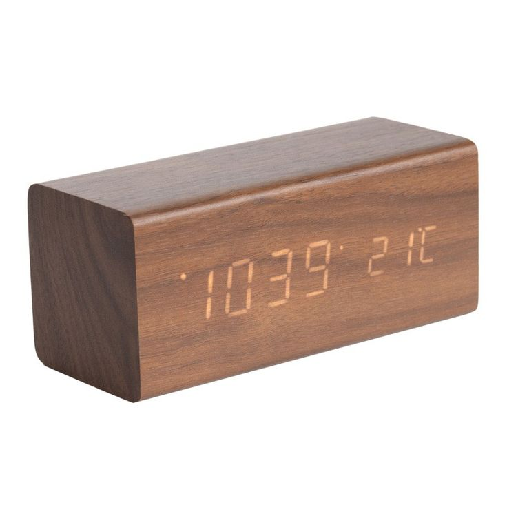 Karlsson+Block+LED+Clock+-+Dark+Wood+-+This+Karlsson+Block+LED+Clock+-+Dark+Wood+takes+digital+timekeeping+to+a+whole+new+level!+It+may+look+like+a+wooden+brick,+but+beneath+that+polished+veneer+lies+a+layer+of+orange+LED+lights+which+seemingly+beam+out+from+the+wood+itself.  Featuring+a+dark+wood+veneer+finish,+every+unit+in+this+designer+alarm+clock+range+displays+a+unique+woodgrain,+making+it+a+one-of-a-kind+timepiece.+Not+only+is+this+wood+block+a+focal+point+in+its+o