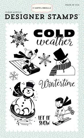 Carta Bella Snow Fun Collection Wintertime Clear Acrylic Designer Stamp Set