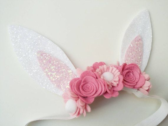 Bunny Ears Easter Hair Clips Spring Hair by sweetandberryshop