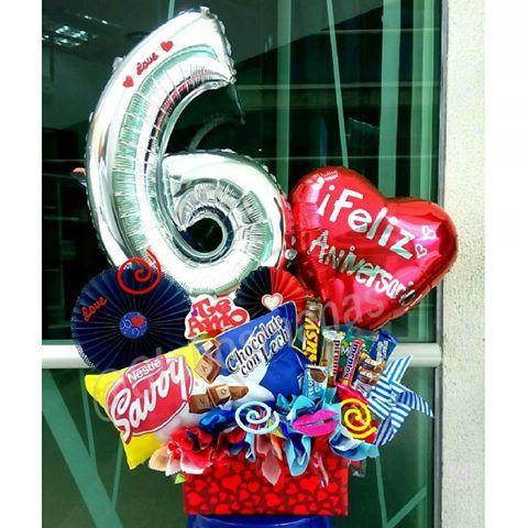 Celebrando 6 maravillosos años de mucho amor! #arreglos #arreglosconglobos #detalles #regalo #original #gifts #cumpleaños #felicidades #dulces #chucherias #detalle #bienvenida #globos #balloons #balloon #venezuela #venezolanosenelexterior #doralzuela #savoy #cojin #abanicos #aniversario #amor #love #globopersonalizado