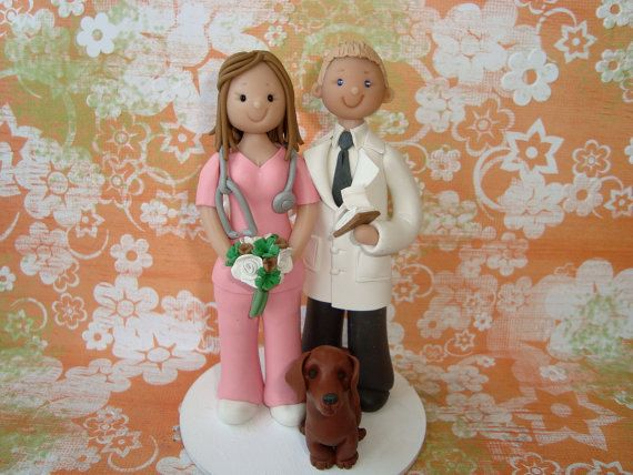 Customized Doctor And Nurse Wedding Cake Topper By Mudcards