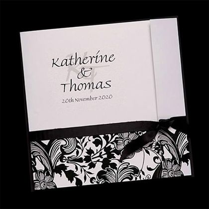 Wedding Invitation with Flap Card, Floral Pattern and Horizontal Tied Ribbon
