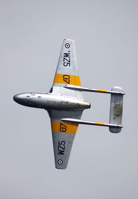 Pinning this for my Dad, who flew this plane for the Royal Navy in the 1950s. The De Havilland Vampire