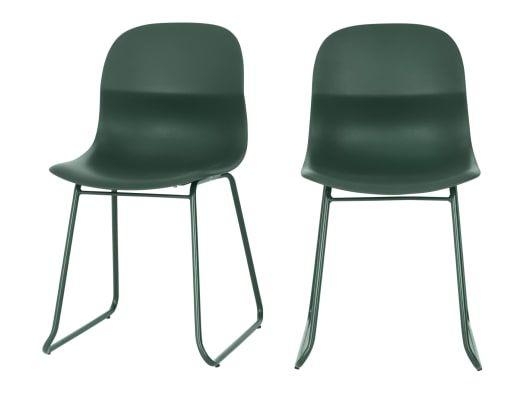 2 x MADE Essentials Farah Esszimmerstühle, Grün ...