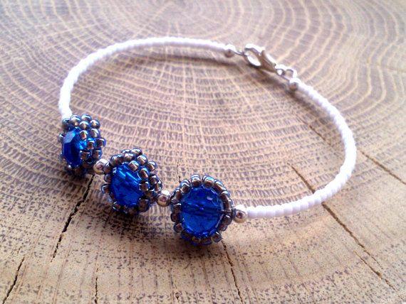 Cobalt Thin Bracelet  Tiny Bracelet  Friendship by DeerestJewelry