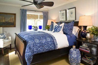 Covet du Jour: Daily Inspiration: Barclay Butera: Blue Rooms, Sleigh Beds, Garden Stools, Guest Bedrooms, Cobalt Blue, Blue White Bedrooms, Blue Bedrooms, Barclay Butera, Gardens Stools