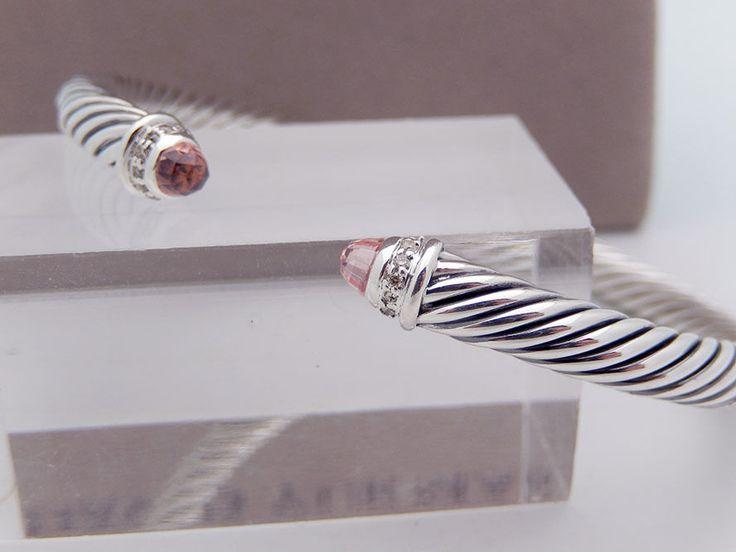 David Yurman 5mm PINK & Diamonds Bracelet in Sterling Silver 925  | eBay Save Seller: nameforless