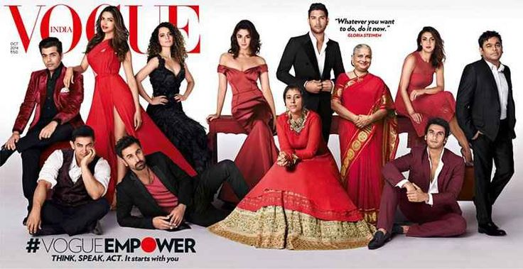 October 2014's Indian issue of Vogue saw the most influential cover till date. To celebrate the 7thanniversary of Indian Vogue, the powerful newsmakers of 2014 were brought together in an unique photoshoot.  Karan Johar, Deepika Padukone, Kangana Ranaut, Aamir Khan, Ranbir Kapoor, Alia Bhatt, Barkha Dutt, Yuvraj Singh, Sudha Murthy, Ranveer Singh, Tanya Dubash, and A. R. Rahman were the ones who were featured in the issue.