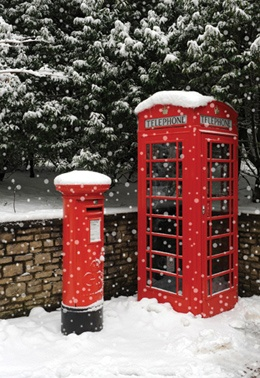 Red Telephone booth and post box. Now don't they look smart. Some countries have mail boxes that look like litter bins.
