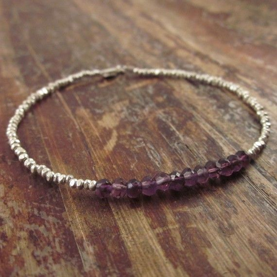 Amethyst Bracelet Holiday Gifts for Her Hill Tribe Silver Beads Beaded Beadwork Womans Bracelet February Birthstone Gemstone Stone Girls  Purple